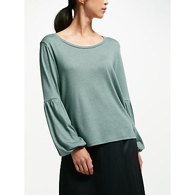 Finery Bower Wool-Mix Blouson Sleeve Tee, Eucalyptus
