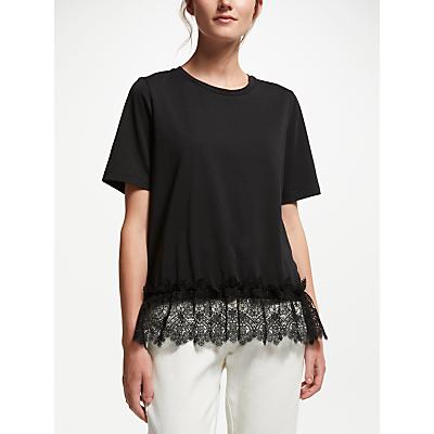 Finery Ives Lace Trim T-Shirt, Black