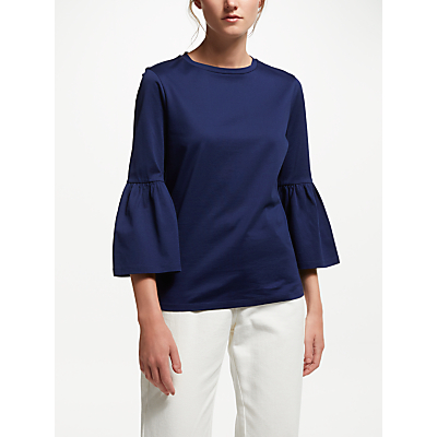 Finery Beatrice Flute Sleeve T-Shirt, French Navy