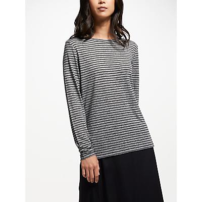 Finery Fernbrook Linen-Mix Striped Top, Grey/Black