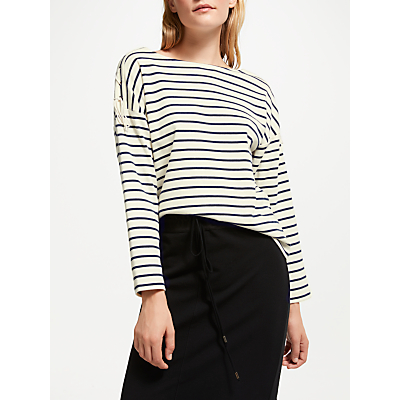 Great Plains Lace-Up Stripe Top, Midnight/Milk