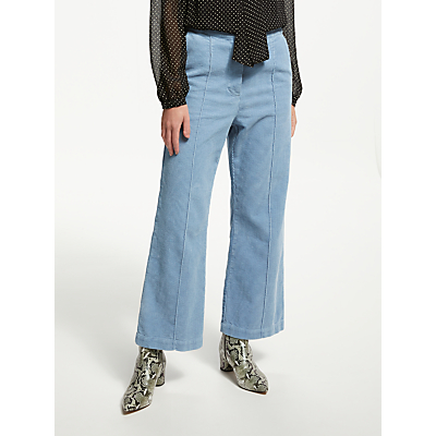 Finery Clara Kickflare Cord Trouser, Moody Sky Blue