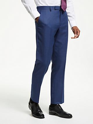 John Lewis & Partners Wool Check Tailored Suit Trousers, Aqua