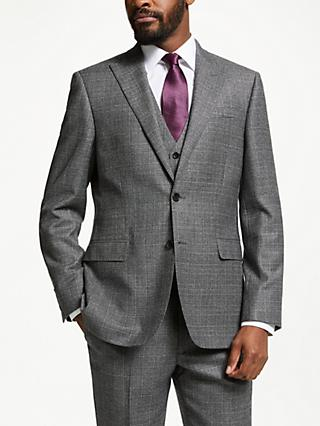 John Lewis & Partners Wool Check Tailored Suit Jacket, Grey