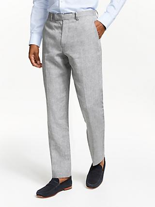 John Lewis & Partners Linen Regular Fit Suit Trousers, Silver