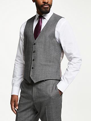 John Lewis & Partners Wool Check Regular Fit Waistcoat, Grey