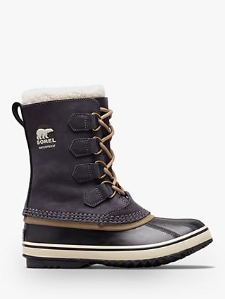 Sorel PAC2 Lace Up Waterproof Ankle Snow Boots, Black Leather