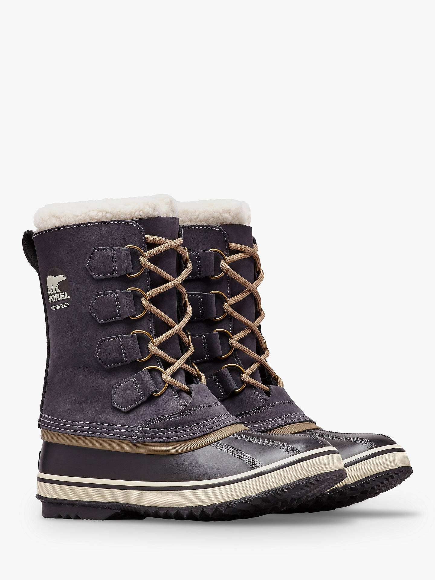 Buy Sorel PAC2 Lace Up Waterproof Ankle Snow Boots, Black Leather, 6 Online at johnlewis.com