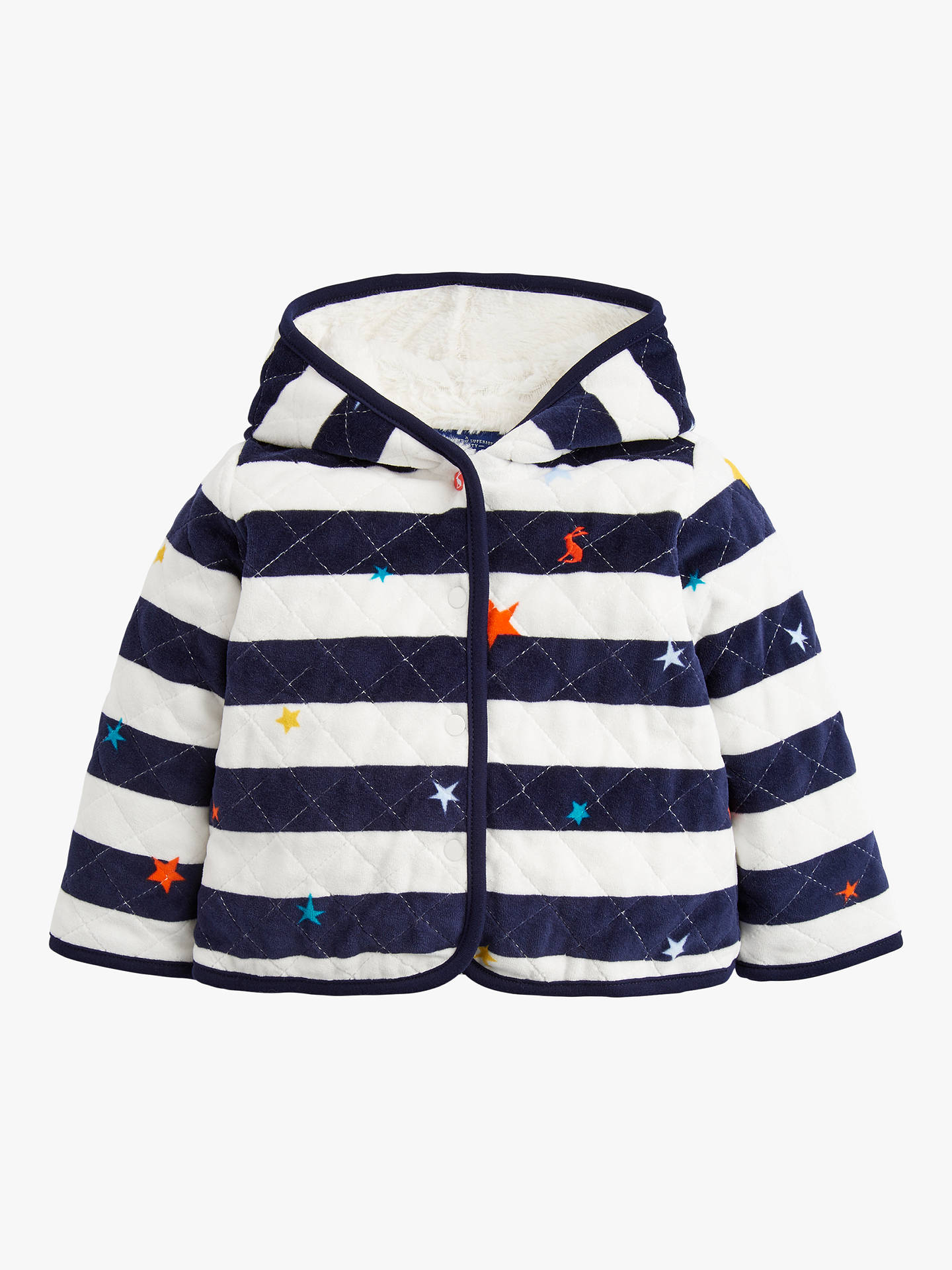 high quality wide varieties multiple colors Baby Joule Alex Velour Quilted Jacket, Blue at John Lewis ...