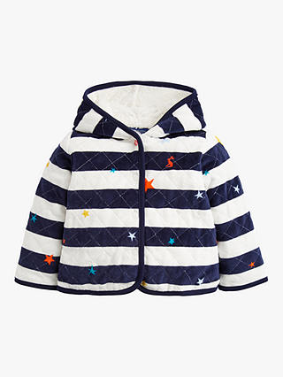 Buy Baby Joule Alex Velour Quilted Jacket, Blue, 0-3 months Online at johnlewis.com