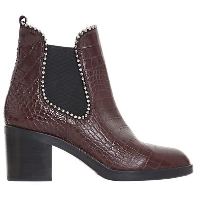 Dune Black Paxtton Ball Stud Ankle Boots, Burgundy Croc