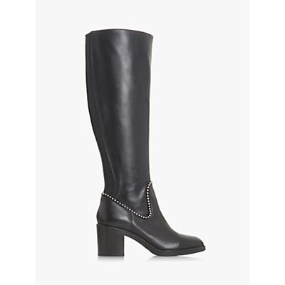 Dune Black Teddie Block Heel Knee High Boots, Black Leather