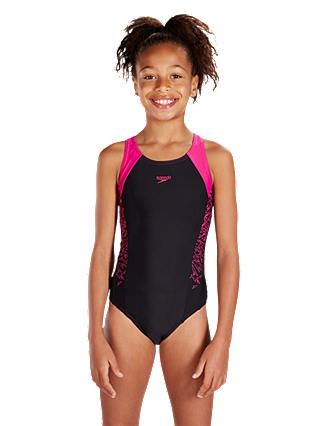 "Buy Speedo Girls' Boom Splice Muscleback Swimsuit, Black/Pink, Chest 28"" Online at johnlewis.com"