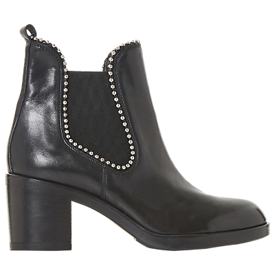 Dune Black Paxtton Ball Stud Ankle Boots, Black Leather