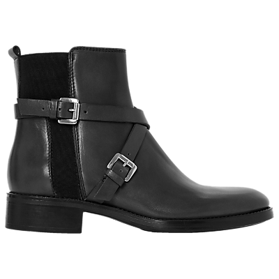 Dune Black Palme Cross Strap Ankle Boots
