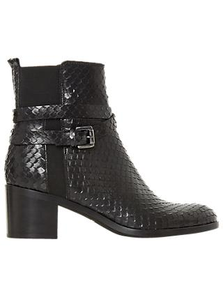 Dune Black Peirce Block Heel Ankle Boots, Black Leather Reptile