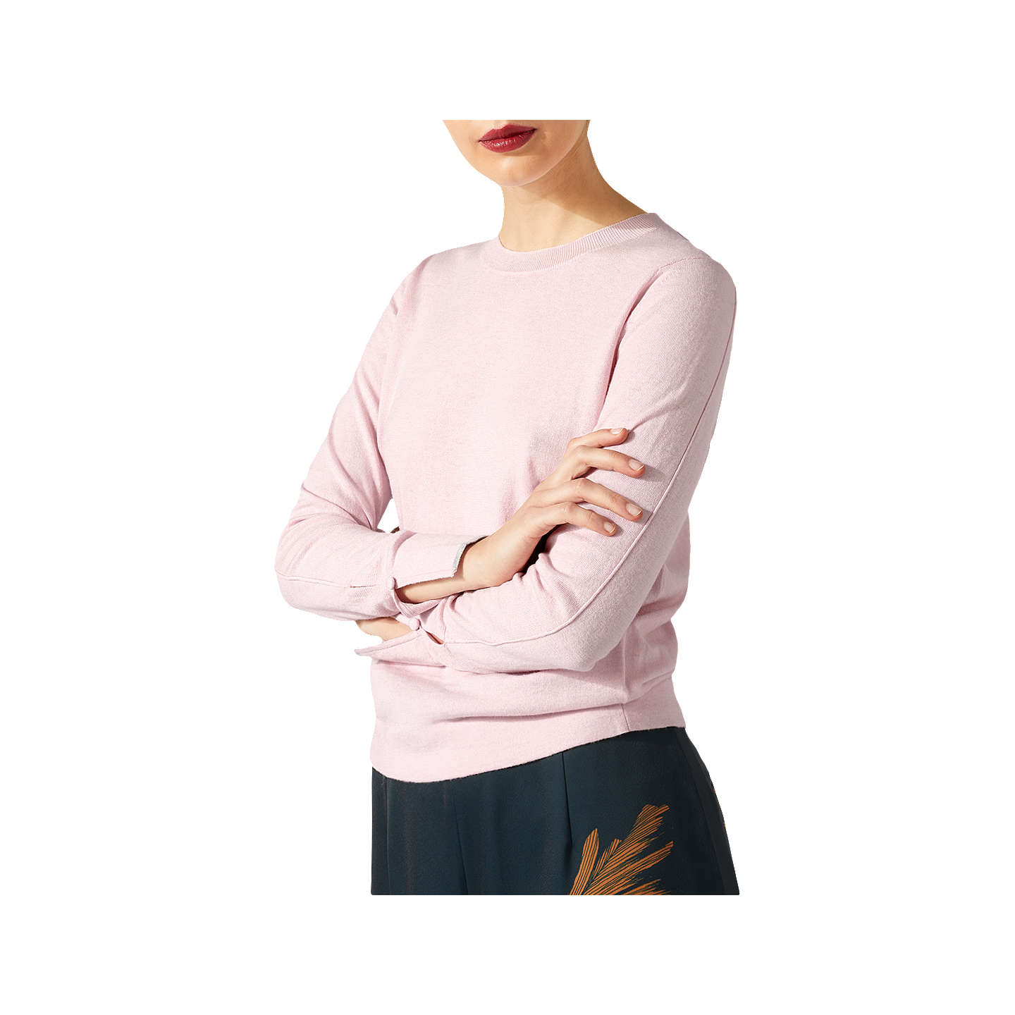 BuyJigsaw Cotton Cashmere Crew Jumper, Rose Water, XS Online at johnlewis.com