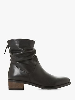 Dune Pagerss Ruched Block Heel Ankle Boots, Black Leather