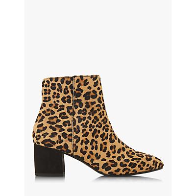 Dune Olyvea Block Heeled Ankle Boots, Leopard