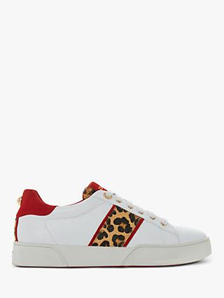 Dune Elsie Lace Up Leather Trainers, White/Leopard