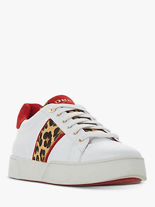 Dune Elsie Lace Up Trainers, White Leather