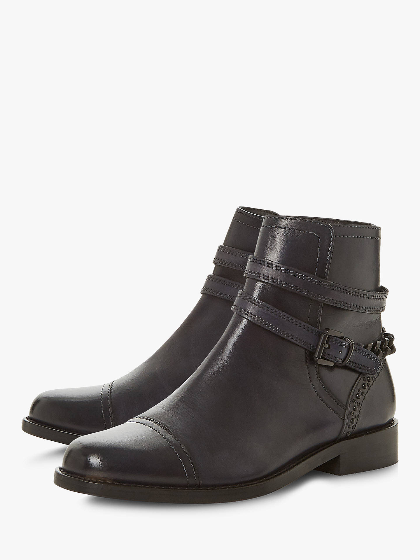 Buy Bertie Proseper Buckle Ankle Boots, Navy Leather, 7 Online at johnlewis.com