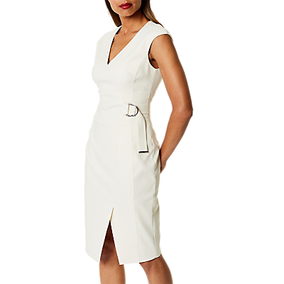 Karen Millen Belted Wrap Dress, Ivory