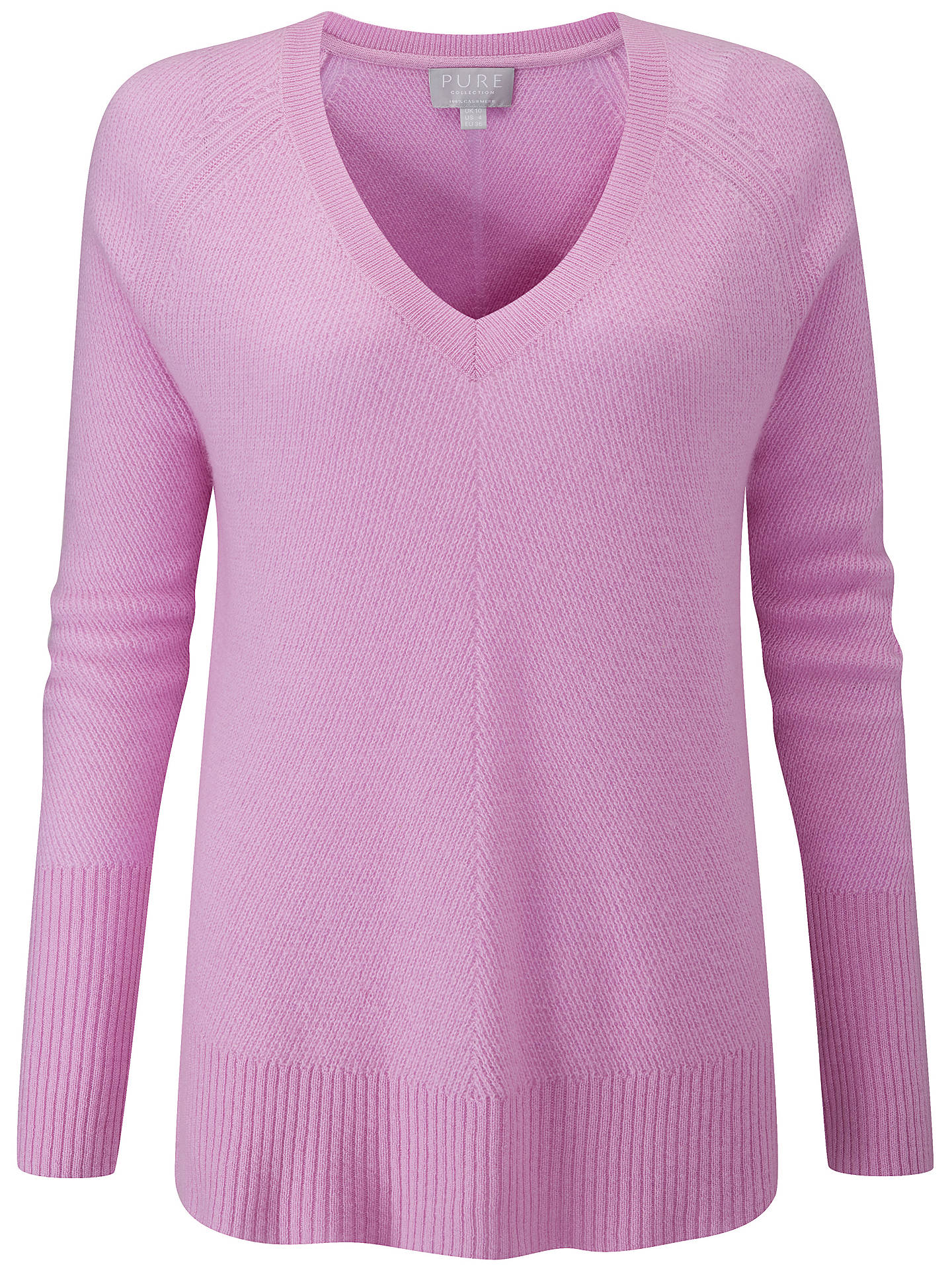 BuyPure Collection Cashmere V-Neck Sweater, Lilac, 10 Online at johnlewis.com