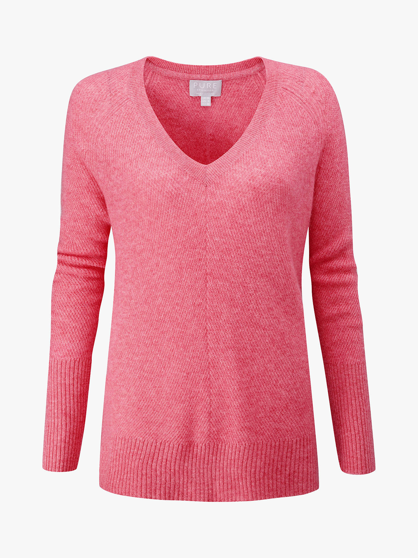Buy Pure Collection Cashmere V-Neck Sweater, Heather Rose, 14 Online at johnlewis.com