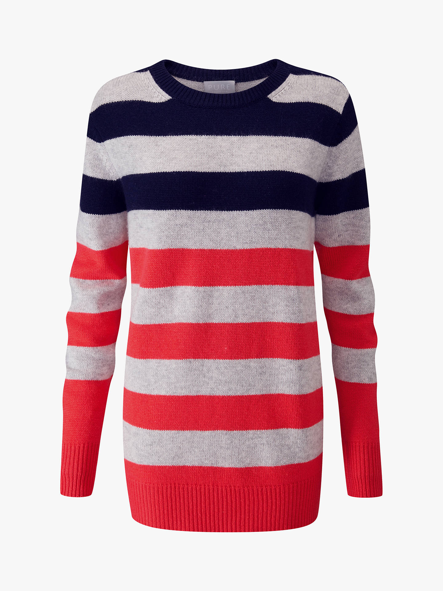 Buy Pure Collection Boyfriend Jumper, Navy/Coral, 8 Online at johnlewis.com