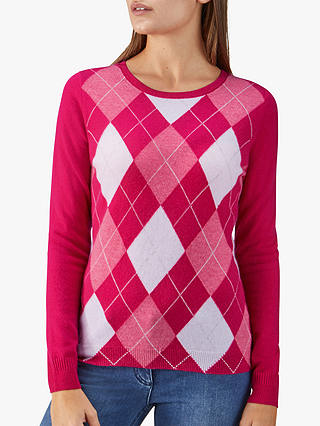 Buy Pure Collection Cashmere Jumper, Pink Argyle, 18 Online at johnlewis.com