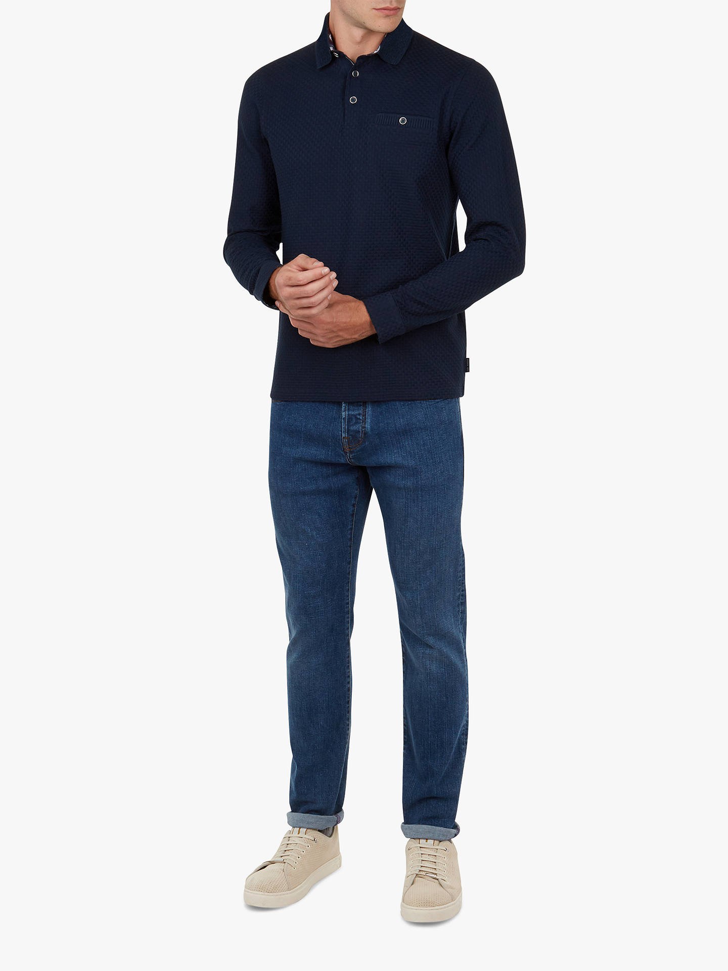 Buy Ted Baker Runna Long Sleeve Polo Shirt, Navy, 1 Online at johnlewis.com
