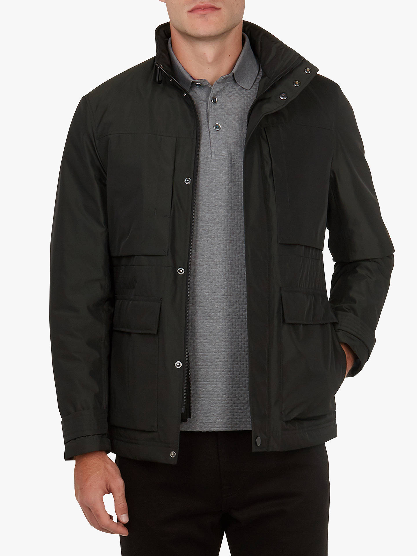 Buy Ted Baker Cuban Nylon Field Jacket, Dark Green, 6 Online at johnlewis.com