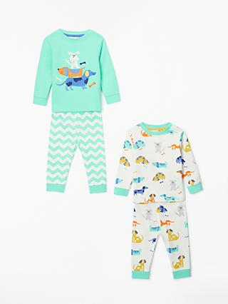 John Lewis & Partners Baby GOTS Organic Cotton Dogs Pyjamas, Pack of 2, Green