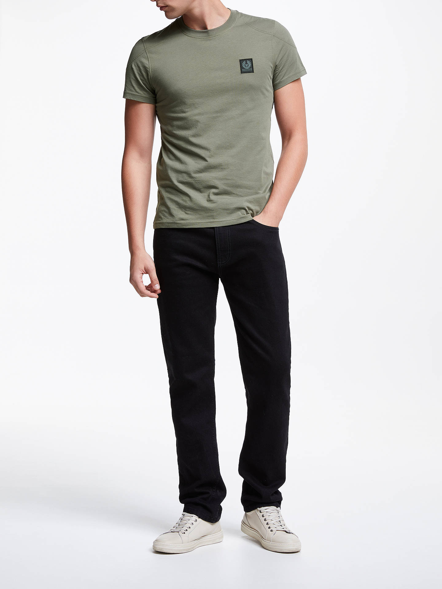 BuyBelstaff Throwley Short Sleeve T-Shirt, Green Smoke, S Online at johnlewis.com