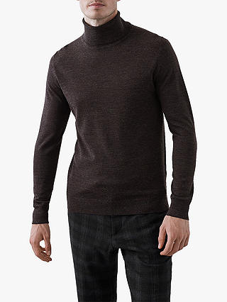 Buy Reiss Caine Roll Neck Sweater, Chocolate, L Online at johnlewis.com