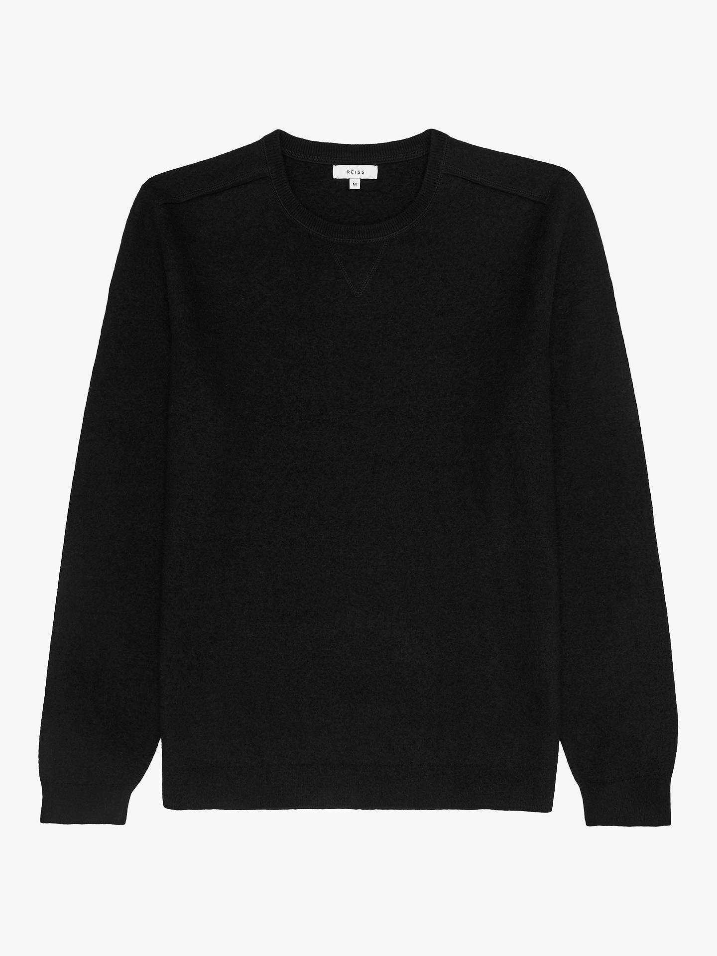 Buy Reiss Cambeck Felted Sweatshirt, Black, M Online at johnlewis.com
