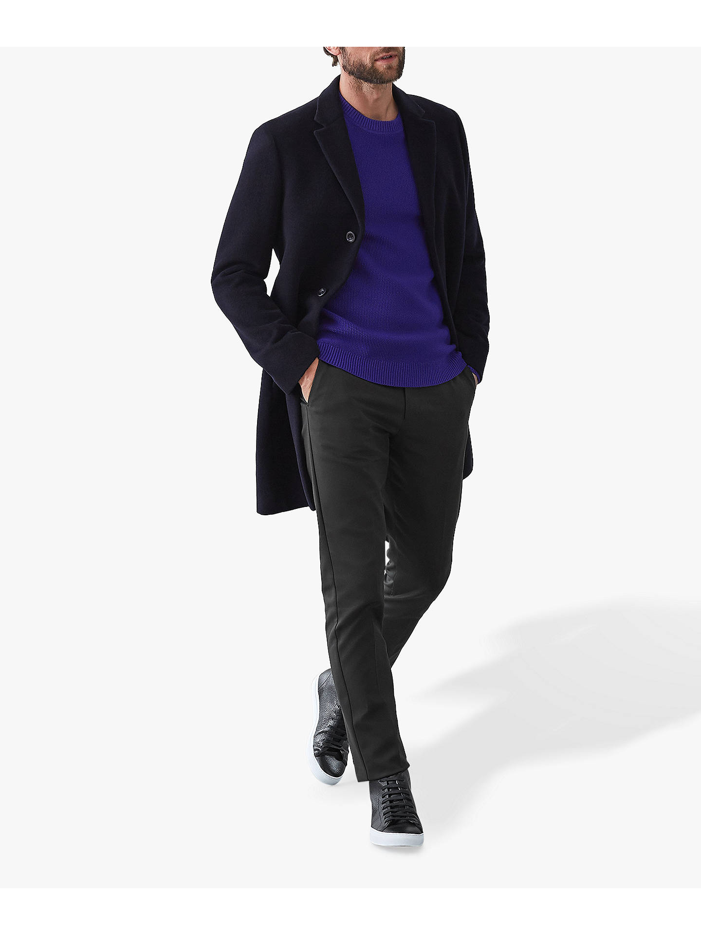 Buy Reiss Humbleton Textured Crew Neck Jumper, Cobalt Blue, S Online at johnlewis.com