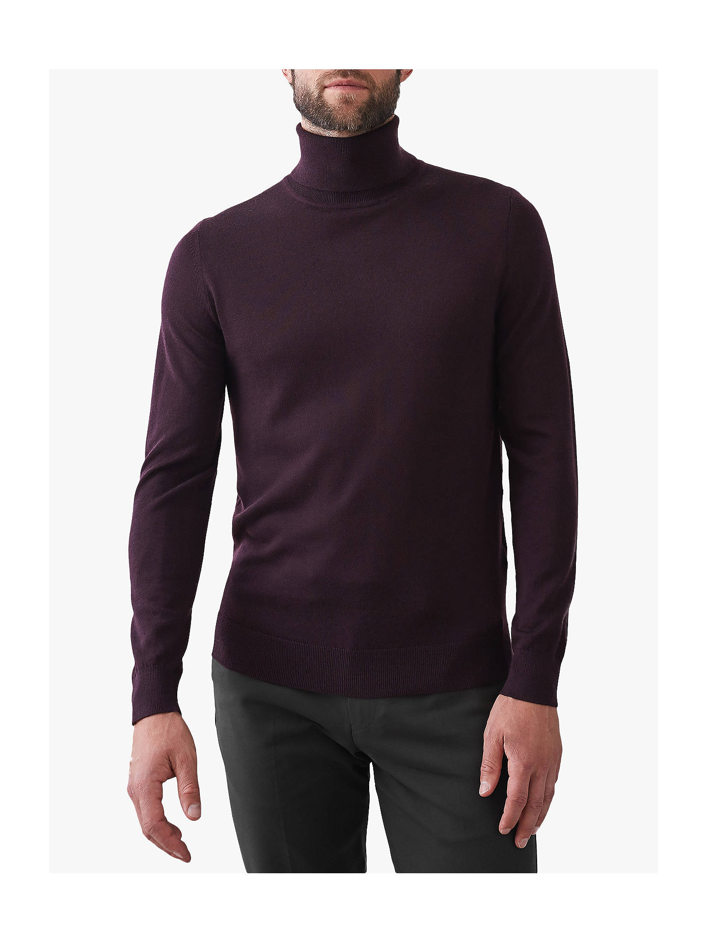 BuyReiss Cain Roll Neck Wool Jumper, Bordeaux, S Online at johnlewis.com
