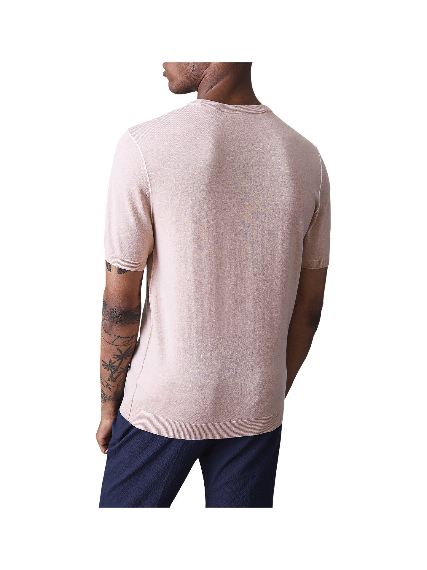 Buy Reiss Leven Cotton Wool Seam Detail T-Shirt, Soft Pink, S Online at johnlewis.com