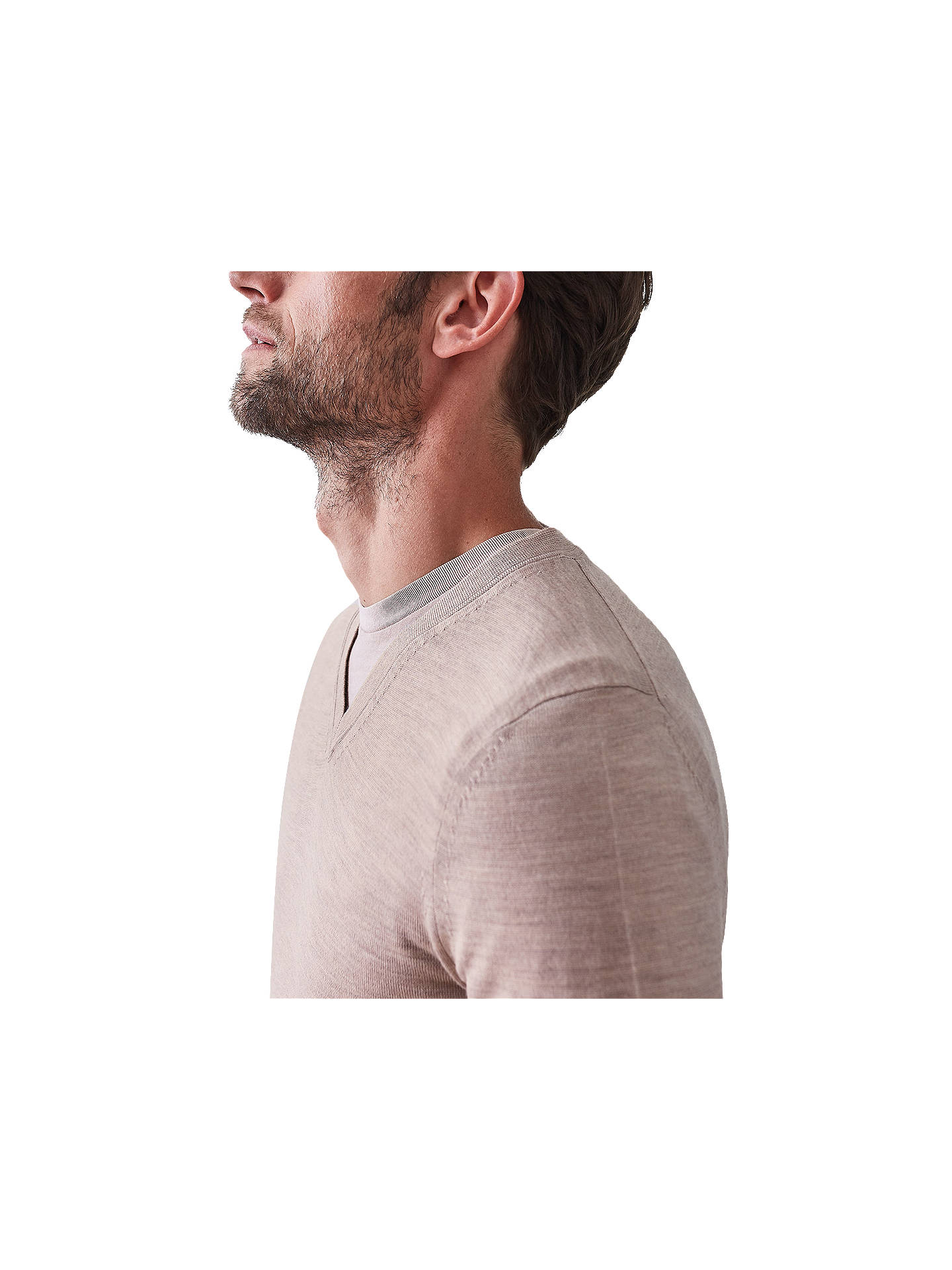 Buy Reiss Earl Merino V-Neck Jumper, Taupe, S Online at johnlewis.com