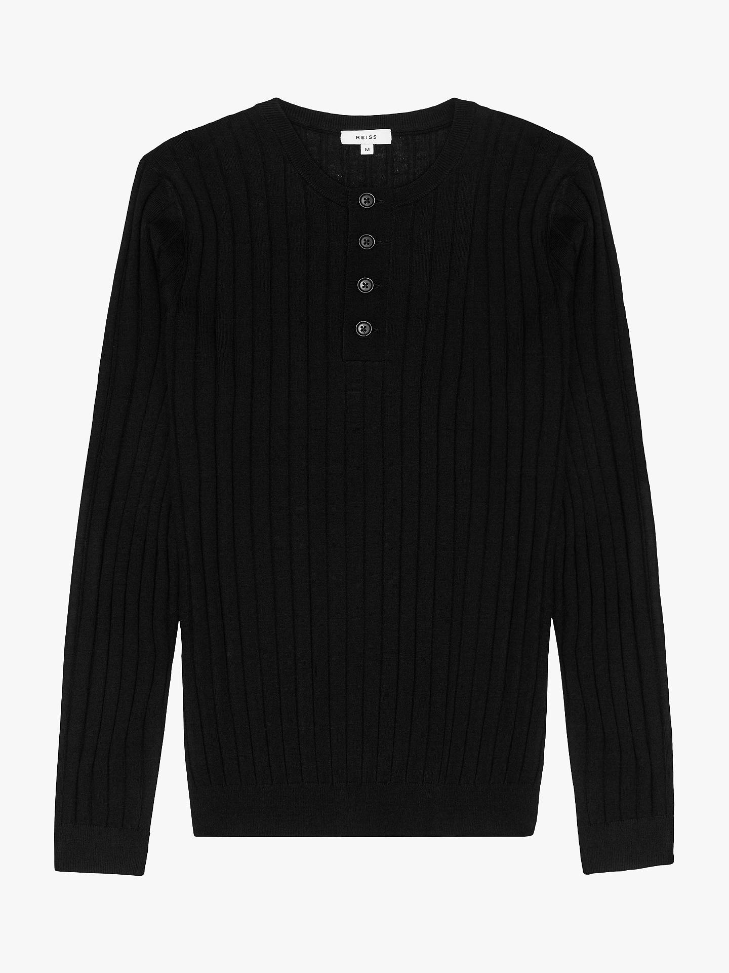 Buy Reiss Stavros Wide Ribbed Henley Jumper, Black, S Online at johnlewis.com
