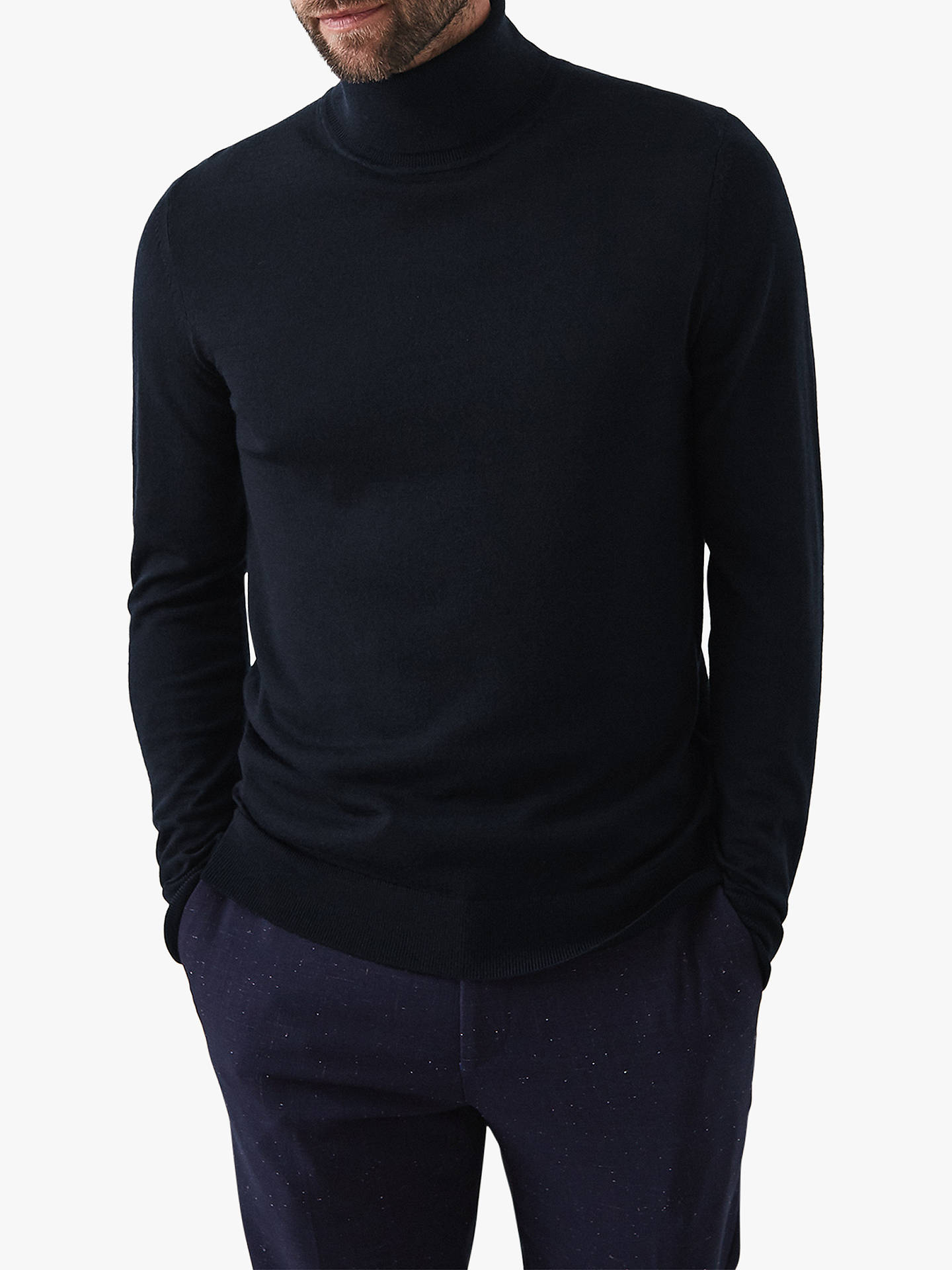 Buy Reiss Caine Roll Neck Sweater, Navy, S Online at johnlewis.com