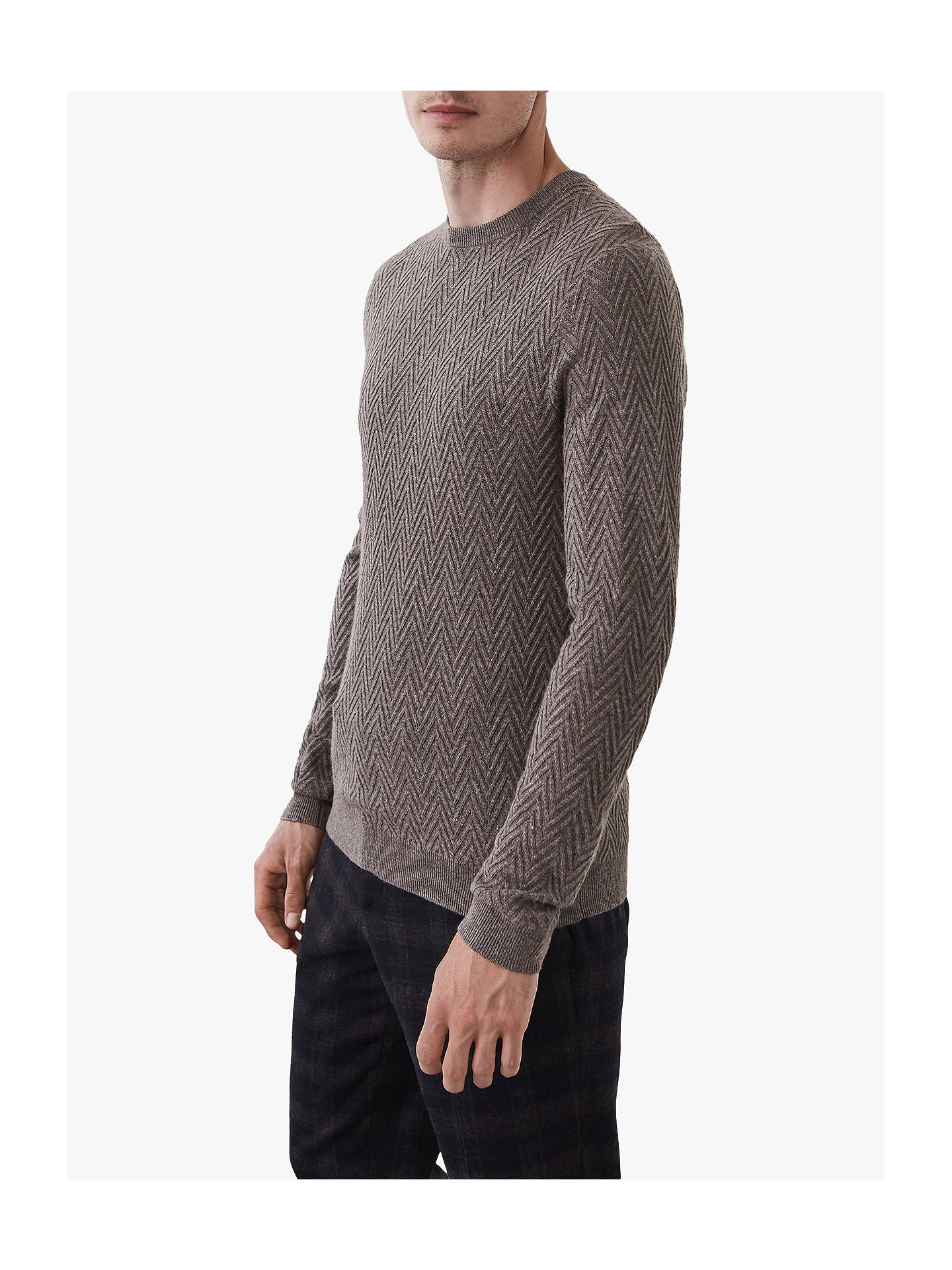 BuyReiss Avons Chevron Cable Knit Jumper, Taupe, S Online at johnlewis.com
