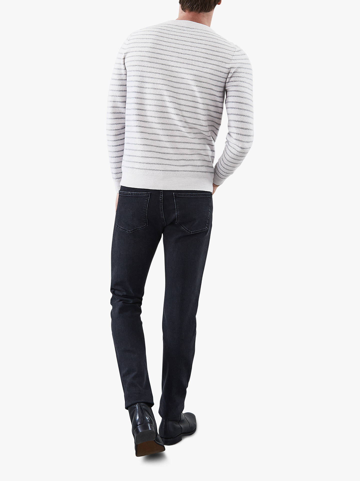 Buy Reiss Stevenson Wool Stripe Jumper, Soft Grey, S Online at johnlewis.com