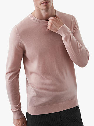 Buy Reiss Wessex Crew Neck Wool Knit Jumper, Pink, S Online at johnlewis.com
