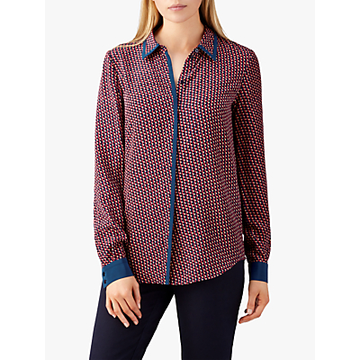 Pure Collection Relaxed Washed Silk Contrast Blouse, Blue Geo