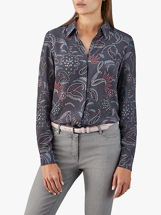 Buy Pure Collection Washed Paisley Print Silk Blouse, Charcoal Paisley, 8 Online at johnlewis.com
