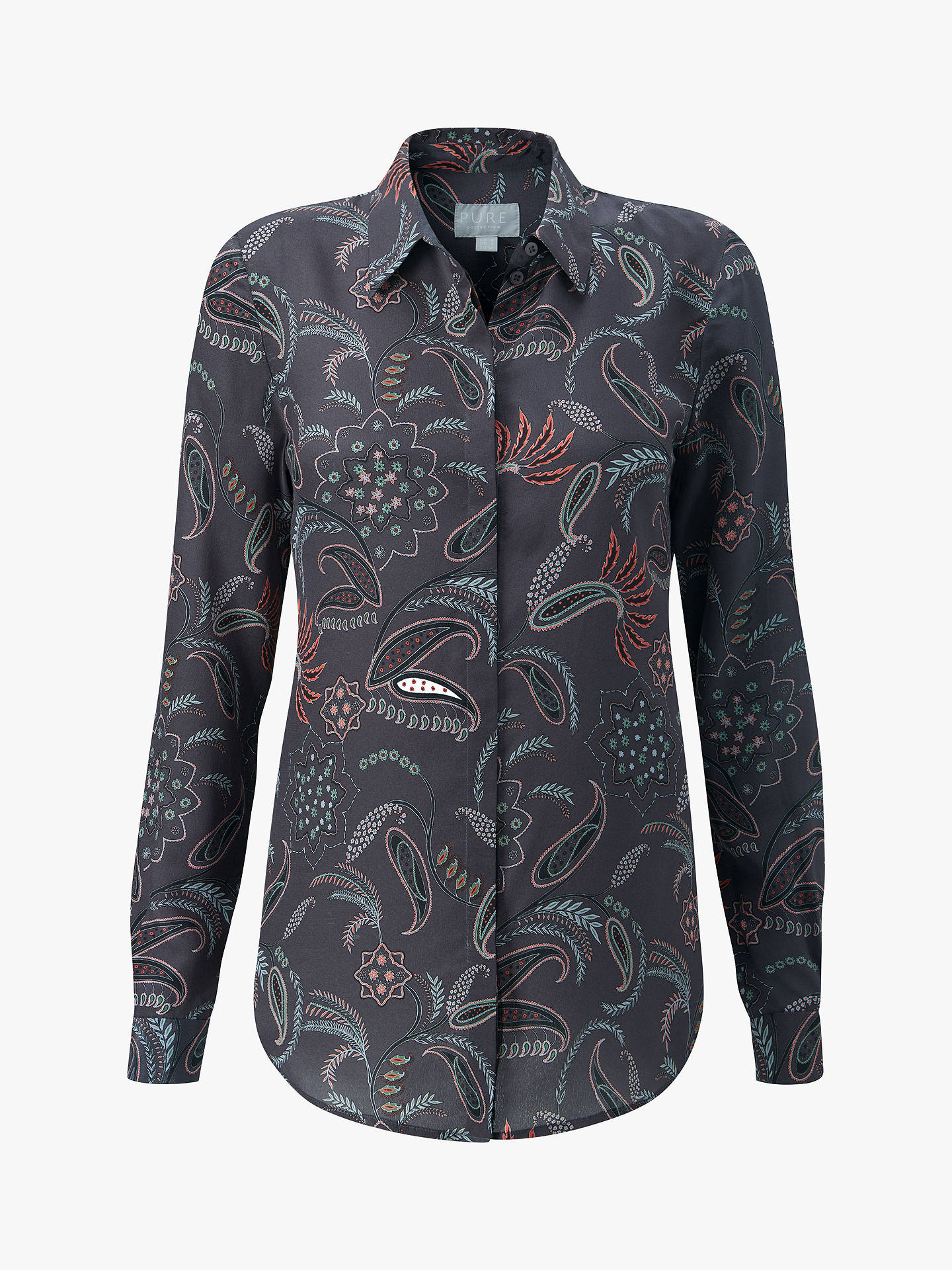 BuyPure Collection Washed Paisley Print Silk Blouse, Charcoal Paisley, 8 Online at johnlewis.com