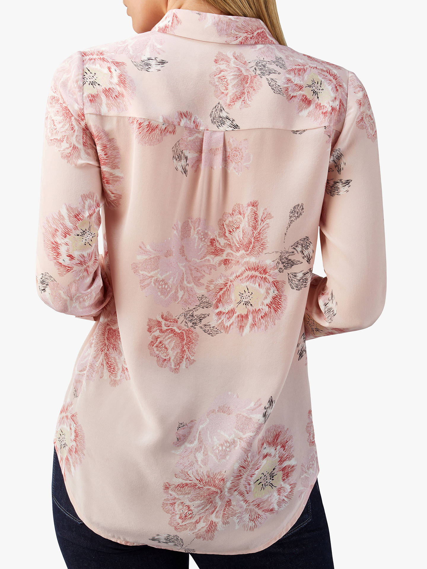 Buy Pure Collection Washed Silk Blouse, Pale Pink Floral, 12 Online at johnlewis.com